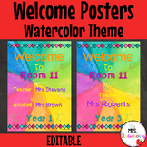 Water Color Welcome Posters **Editable