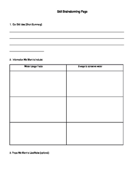 Water Conservation Skit, Rubric, and Feedback Form