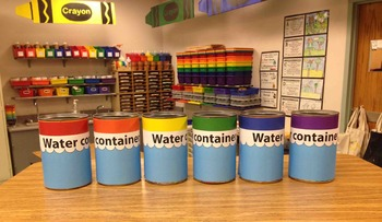 Water Container Cup Labeling Cards for Bins or Labels & Classroom Organization