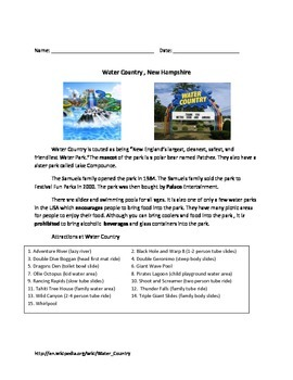Water Country - New Hampshire - Review Article Questions V