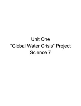 Water Crisis Science Project