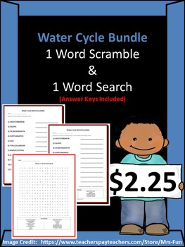 Water Cycle - 1 Word Scramble & 1 Word Search w/ Answer Keys