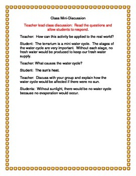 Water Cycle Application Lab ~ Terrarium Water Cycle Model