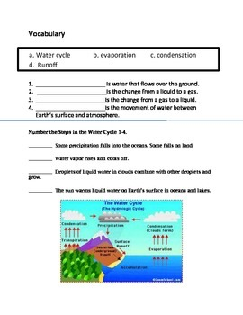 Water Cycle - Assessment 4th Grade Science