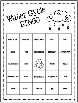 Water Cycle Activity Review Bingo 1647493 on Water Vapor Science Worksheets For Grade 5