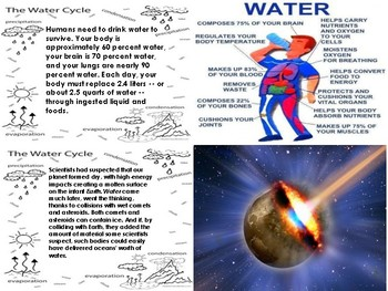 Water Cycle Bundle-(3)Reading Comprehension Passages, Picture Match Cards, Cloze