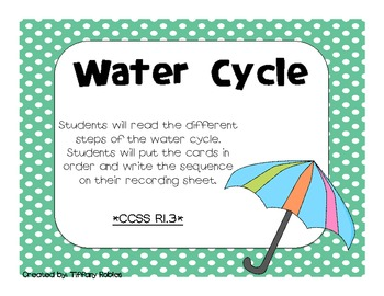 Water Cycle  CCSS 2.RI.3