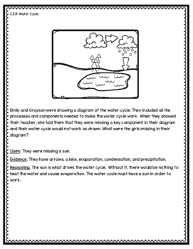 Water Cycle Claim Evidence Reasoning