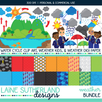 Water Cycle and Weather Clip Art and Digital Paper Bundle