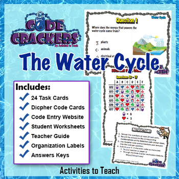 Water Cycle Code Crackers Activity - Breakout Sleuth Task Cards