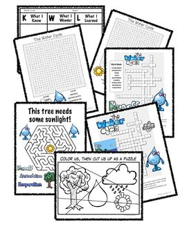 Water Cycle - Crossword, Word Search, Maze, Jigsaw Puzzle and KWL Chart