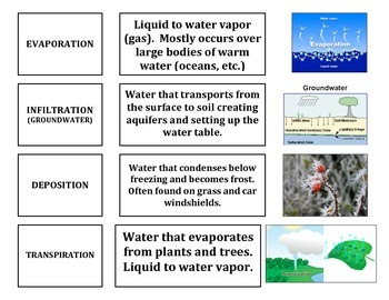 Water Cycle - Definitions and Matching Image (Portion of Larger Version)