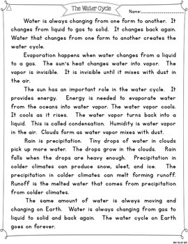 Water Cycle {Differentiated Close Reading Passages & Questions}