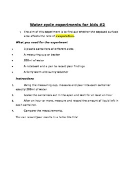 Water Cycle Experiments for Kids