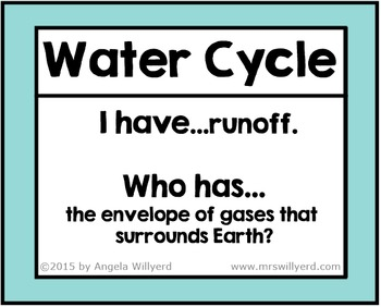 Water Cycle Vocabulary Review Game - I Have, Who Has