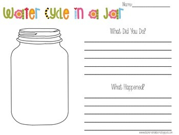 Water Cycle In a Jar -Science Experiment Freebie (and Poem)