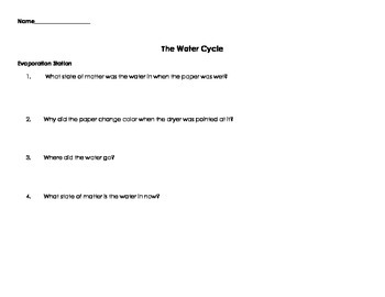 Water Cycle Lab & Worksheet