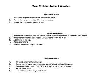 Water Cycle Lab & Worksheet