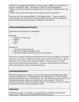 Water Cycle Lesson Plan Bundle-Editable