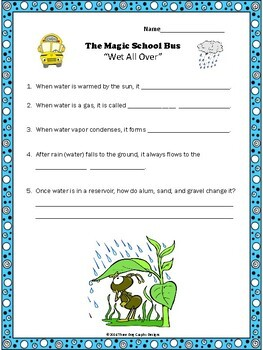 "Water Cycle Magic School Bus ""Wet All Over"" Video Response Form"
