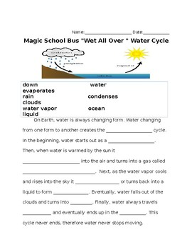 Water Cycle Magic School Bus Worksheet by Flying Fast Through First