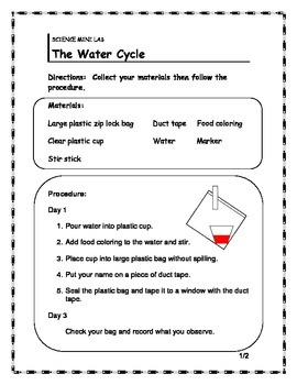 Water Cycle Mini Lab/ Info Sheet/ Word Search