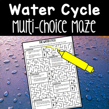 Water Cycle Multi-Choice Maze Worksheet