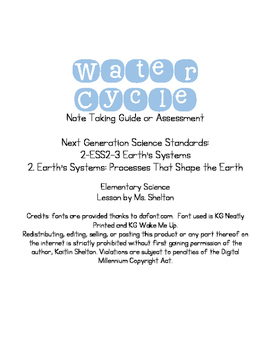 Water Cycle Note Guide or Assessment