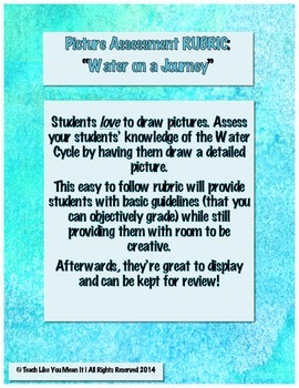 """Water Cycle PICTURE(!) Assessment Rubric: """"Water on a Journey"""""""