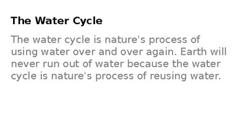 Water Cycle PPT to go along with Scaffolded Notes
