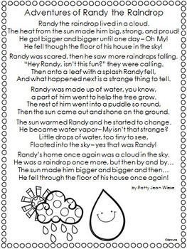 Water Cycle Poem Freebie {Kidsrcute}