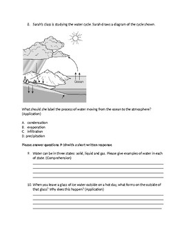 Water Cycle Pre/Post Assessment
