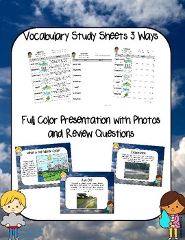 Water Cycle Presentation and Assessment / Vocabulary Pack