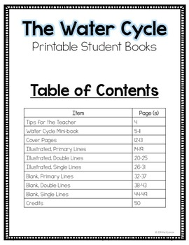 Water Cycle Printable Student Books