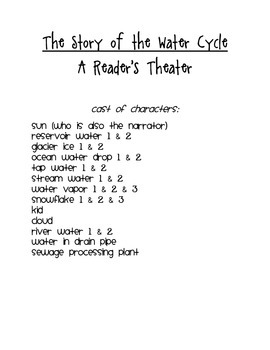 Water Cycle Reader's Theater Script