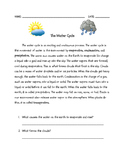 Water Cycle Reading Comprehension