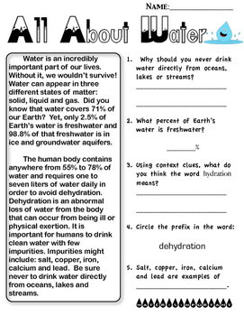 Water Cycle Reading Passages