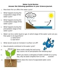 Water Cycle Review Sheet