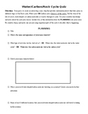 Water Cycle / Rock Cycle / Carbon Cycle Quiz - Activity