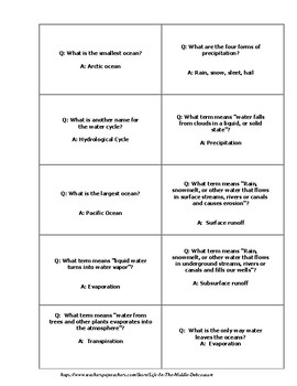 Water Cycle Science Question and Answer Cards set of 30