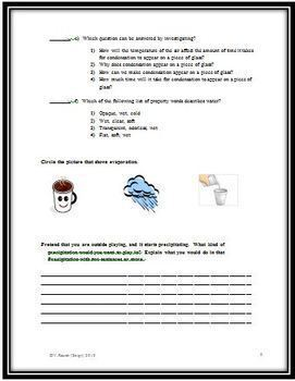 EDITABLE Water Cycle Science Test for Grades 5-8