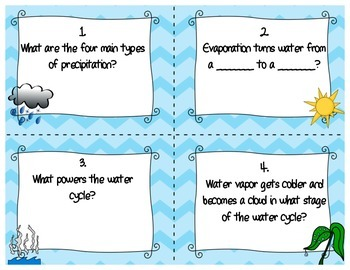 Water Cycle Task Cards Board Game