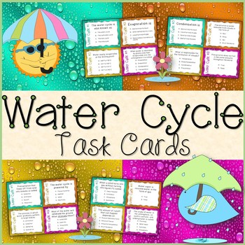 Water Cycle Task Cards Freebie (Colored & Black and White) + Recording Sheet