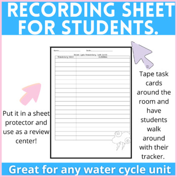 Water Cycle Task Cards Using Vocabulary (Utah Core 4th Grade)