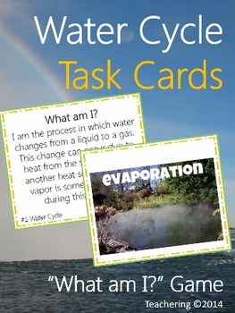 """Water Cycle Task Cards """"What Am I"""" Game with Picture Match"""