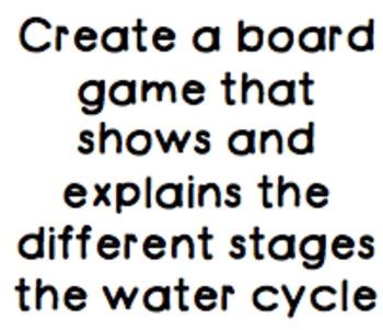Water Cycle Tic Tac Toe Culminating Project SC.5.E.7.1, SC.5.E.7.2