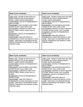 Water Cycle Vocab Page - 4 to page