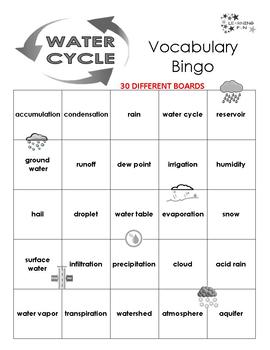 Water Cycle Vocabulary Bingo