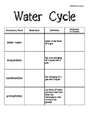 Water Cycle Vocabulary Book - 5th grade