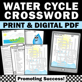 Water Cycle Activities, Weather Unit, Water Cycle Worksheets Crossword Puzzle